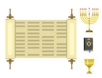 Judaism church traditional symbols isolated hanukkah religious synagogue passover hebrew vector illustration. Stock Image