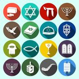 Judaism Icons Set Flat Stock Images