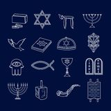 Judaism icons set outline Stock Photo