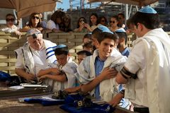 Judaism. Jewish children during the celebration of the bar-mitzvah at the Western Wall in the Jerusalem old town, Jerusalem, Israel Stock Photography