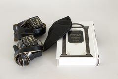 Judaism object tallit tefillin siddur for prayer. Judaism object a tallit & tefillin & siddur for prayer Stock Photography