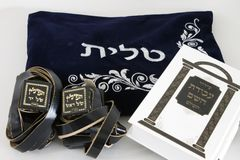 Judaism object tallit tefillin siddur for prayer. Judaism object a tallit & tefillin & siddur for prayer Royalty Free Stock Photography
