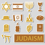 Judaism religion symbols  set of stickers eps10 Royalty Free Stock Image