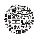 Judaism religion symbols vector set of icons in circle eps10 Royalty Free Stock Photo