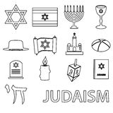 Judaism religion symbols vector set of outline icons Royalty Free Stock Image