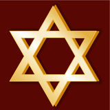 Judaism Symbol. Golden Star of David, symbol of the Jewish faith on a red background Royalty Free Stock Images