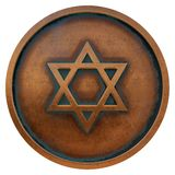 Judaism symbol star of david on the copper metal coin. 3D rendering royalty free stock photography