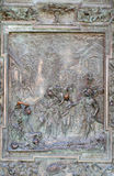 Judas betrayal. Artwork from the school of Giambologna, panel from the bronze door on the righ of the Cathedral St. Mary of the Assumption in Pisa, Italy Stock Photos