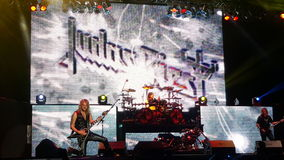 Judas Priest in Bucharest 2015. The heavy metal band Judas Priest performing on stage in concert in Bucharest in July 2015, Romania Stock Photo
