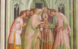 Fresco in San Gimignano - Judas betrays Jesus Royalty Free Stock Photo