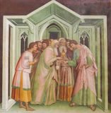 Fresco in San Gimignano - Judas betrays Jesus Stock Photography