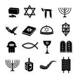 Judaïsmepictogrammen geplaatst zwart Stock Fotografie