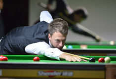 Judd Trump of England. Bangkok, Thailand - SEP 3:Judd Trump of England in action during Sangsom Six-red World Championship 2013 at Montien Riverside Hotel on stock image