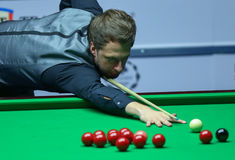 JUDD TRUMP. Faces Ronnie O'Sullivan ( not pictured ) in the final of European Masters Snooker, in Bucharest, Romania, Sunday, October 09, 2016 stock image