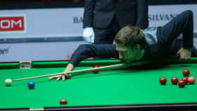 JUDD TRUMP. Faces Ronnie O'Sullivan ( not pictured ) in the final of European Masters Snooker, in Bucharest, Romania, Sunday, October 09, 2016 royalty free stock photography