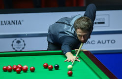 JUDD TRUMP. Faces Ronnie O'Sullivan ( not pictured ) in the final of European Masters Snooker, in Bucharest, Romania, Sunday, October 09, 2016 royalty free stock photo