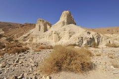 Judea desert landscape. White sediment hills in wadi Zohar, Judea desert in Israel Stock Photography