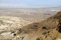 Judean沙漠和死海在以色列,从马萨达堡垒的看法 库存图片