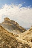 Judean沙漠的峡谷的金黄碎片 库存图片