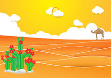 judean的沙漠 仙人掌和骆驼在有日落的沙漠 免版税库存照片