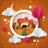 judean öken Pappers- illstration för tecknad film Kamel luftballong, moln, måne, kaktus Arkivfoton