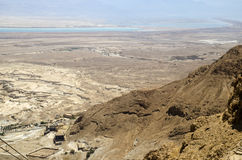 Judean desert and Dead Sea in Israel, view from Masada fortress Stock Image