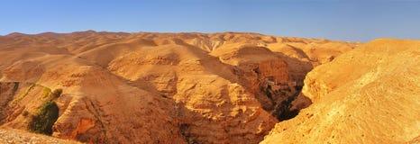 Judean desert. Panoramic view towards the Monastery of Tempation Stock Photo