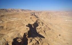 Judean desert and roman fortification Stock Photos