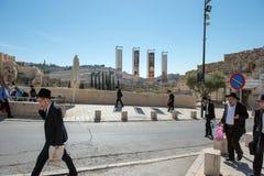 Judeus ultra ortodoxos de Haredi, Jerusalém foto de stock