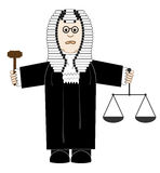 Judge. Illustration cartoon judge in robes and a wig with a judges gavel and scales of justice in the hands Stock Photo
