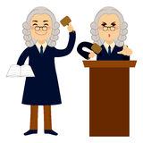 Judge Applying Law. Standing and using hammer vector illustration