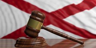 Judge or auction gavel on Alabama US America flag background. 3d illustration. Judge or auction gavel on Alabama US of America waving flag background. 3d Royalty Free Stock Image