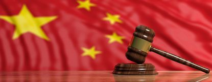 Judge or auction gavel on China flag background. 3d illustration. Judge or auction gavel on China waving flag background. 3d illustration Stock Image