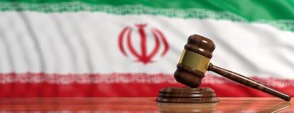 Judge or auction gavel on Iran flag background. 3d illustration. Judge or auction gavel on Iran waving flag background. 3d illustration Royalty Free Stock Photo
