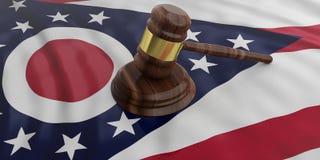 Judge or auction gavel on Ohio US America flag background. 3d illustration. Judge or auction gavel on Ohio US of America waving flag background. 3d illustration Stock Photography