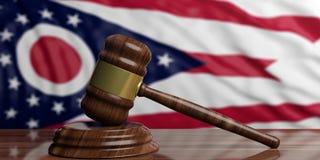 Judge or auction gavel on Ohio US America flag background. 3d illustration. Judge or auction gavel on Ohio US of America waving flag background. 3d illustration Stock Images