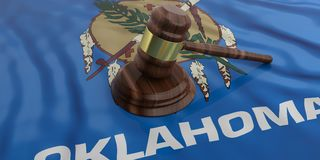 Judge or auction gavel on Oklahoma US America flag background. 3d illustration. Judge or auction gavel on Oklahoma US of America waving flag background. 3d Stock Images