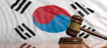 Judge or auction gavel on South Korea flag background. 3d illustration. Judge or auction gavel on South Korea waving flag background. 3d illustration Stock Photography