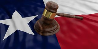 Judge or auction gavel on Texas US America flag background. 3d illustration. Judge or auction gavel on Texas US of America waving flag background. 3d Royalty Free Stock Photography