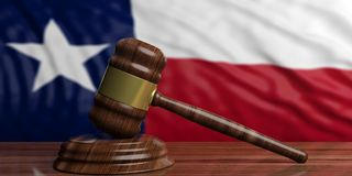 Judge or auction gavel on Texas US America flag background. 3d illustration. Judge or auction gavel on Texas US of America waving flag background. 3d Royalty Free Stock Images