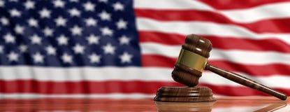 Judge or auction gavel on US America flag background. 3d illustration. Judge or auction gavel on United states of America waving flag background. 3d illustration Stock Photo