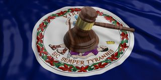 Judge or auction gavel on Virginia US America flag background. 3d illustration. Judge or auction gavel on Virginia US of America waving flag background. 3d Royalty Free Stock Photo