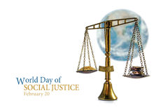 Judge balance in front of a blurred world globe on white, text W Stock Photography