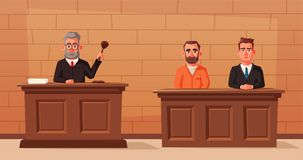 Judge character with hammer, lawyer and defendant. Cartoon vector illustration. Judge character with hammer. Cartoon vector illustration. Justice concept. Law Royalty Free Stock Photos