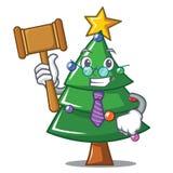 Judge Christmas tree character cartoon. Vector illustration Stock Image