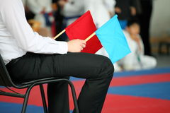 Judge at competitions. Holds a red and dark blue flag Stock Images