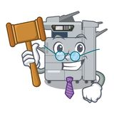 Judge copier machine next to character chair. Vector illustration royalty free illustration