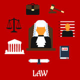 Judge with court flat icons Stock Images
