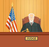 Judge in courthouse flat illustration Royalty Free Stock Photos