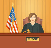 Judge in courthouse flat illustration Royalty Free Stock Image